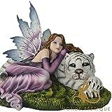 MONDE FEERIQUE Grande Statue fée couché avec Tigre Blanc