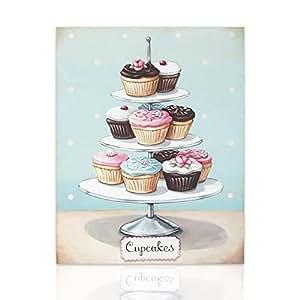 Declea Quadro su Tela Cupcake Muffin alzatina Vintage ...