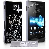 Yousave Accessories® Floral Butterfly Hard Schutzhülle für Sony Xperia Sola–Schwarz/Silber