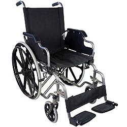 Silla de ruedas plegable y autopropulsable | Reposabrazos abatibles y reposapiés extraíbles | Gran seguridad y cómodo manejo | Ancho de asiento de 43 cm | Peso máximo soportado 100 Kg | Modelo Giralda | Mobiclinic