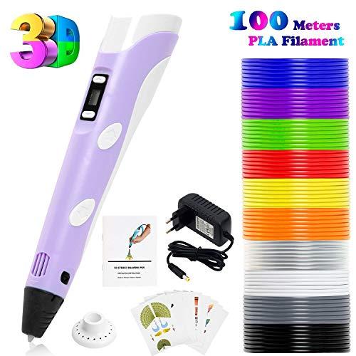 PLUSINNO DIY Scribbler Impresora 3D Pen con Pantalla LCD para 3D Scribbler impresión, Dibujo y Doodling + 13 filamento PLA (10 Colores Diferentes) + 10 Modelos de Papel para práctica UE (Púrpura)