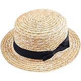 YOUJIA Unisexo Niños Sombreros de Paja de Sol, Ala Ancha Playa Sombrero con el Arco