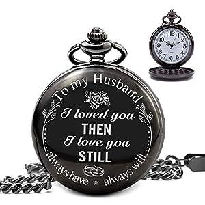 Herren Taschenuhr mit Kette, klassische Vintage Quarz Uhren Taschenuhren Gravur mit zu meinem Mann für Männer Jahrestag / Valentinstag / Vatertag / Weihnachten Retro Geschenk Schwarz