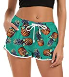Damen Badeshorts Kurze Tankini Shorts Coole Strand Boardshorts Ananas Gedruckt Schnell Trocknendes Badehose Lässig Active Sports Yoga Hotpants Hosen Pyjamas Shorts für Wassersport Trainingshose S