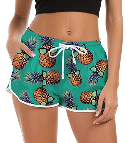 Fanient Damen Badeshorts Kurze Badehose Hawaiian Schwimmen Shorts Lustige Ananas Grafik Badeanzug Shorts Pyjamas Shorts Schnell Trocknendes Sporthose für Surfen Strand Ferien Trainings L