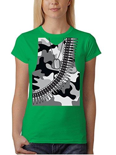 Soldat Grün Kostüm - clothinx Damen T-Shirt Unisex Karneval 2019 Soldaten-Kostüm Grün Größe S
