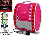 from The Singing Machine X Factor Karaoke CD Version - Portable Karaoke Machine & CD Player - Classic 343 PARTY PACK 1 - Home Disco Party Light  Girls / Boys Karaoke microphone + 86 Karaoke SONGS (5 CD  S) CDG + Format (Connect to a TV to display lyrics from CD) - Echo - Auto Voice Control + AUX IN: Connect MP3 player, iPhone, iPod, Mobile Phone / Smart Phone eg: Samsung Galaxy, Sony Xperia, etc (use as a speaker) by The Singing Machine (Party Pack 1 (5 CDs - 1 Wired Mic), Pink) Model X Factor SML-343 P-Classic Party Pack 1