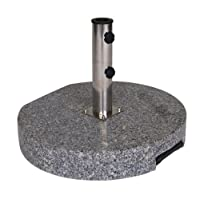 Umbrella Stand with Wheels made of Solid Granite grey, 60 kg Round