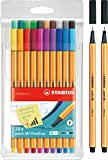 Fineliner - STABILO point 88-20er Pack - Sondersortierung (20 + 2 Pack) inklusive 2 extra point 88 in schwarz