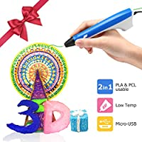 Ailink 3D Printing Pen,Upgrade Intelligent 3D Pen With 1.75mm PLA/PCL Filament,One Button Operation No Burn No Toxic No Clog Gifts for Boys Girls (blue-white)