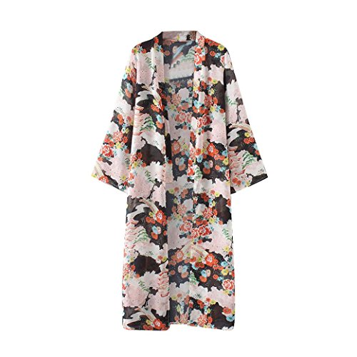 FEITONG Frauen Sommer Chiffon Strand Lose Schals Kimono Strickjacke Tops Cover Up (L, Mehrfarbig) (Kleid Shirt Seide Gestreiften)
