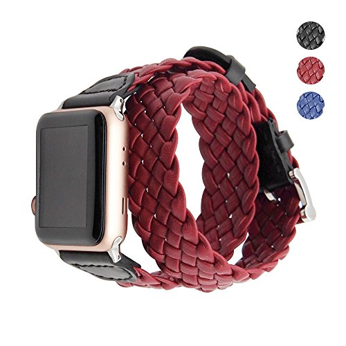 Apple Watch Armband 38mm echtes Leder,Uhrenarmband Litschi Textur Hauptschicht Rindsleder Lederarmband mit Edelstahlschließe, 8Farben für Apple watch Series 3 Series 2 Series 1 (gewebt rot) (Gewebte Textur)