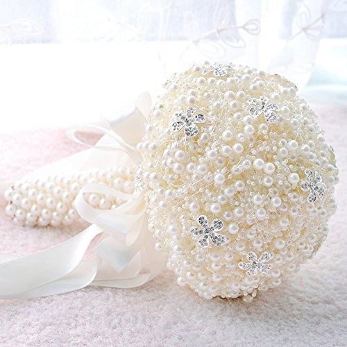 Wewoo Mariage Tenant des Fleurs de Rouge Perle Accessoires de Bouquet de mariée Demoiselle d'honneur Strass Fournitures de décoration de de Partie, diamètre: 20cm