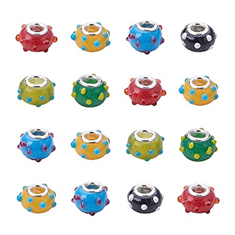 PandaHall Elite 100 Pcs Hole Beads, with Silver Color Brass Core, Rondelle, Mixed Color, about 15~17mm in diameter, 9~10mm thick, hole: 4~5mm