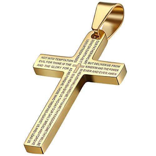Oidea Herren Halskette mit Anhänger, Exquisit Edelstahl Kruzifix Kreuz Bibel Herr Gebet Anhänger mit 55cm Kette Halsband, Gold