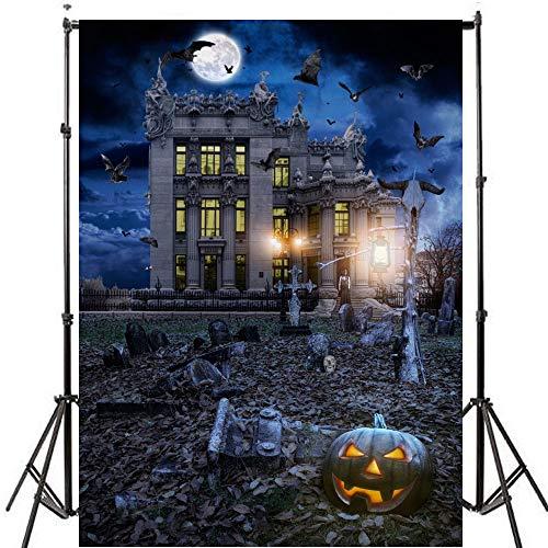 AFUT 5 x 7FT Fotografie Hintergrund Halloween Thema Kürbis Lampen gespenstisch Friedhof Fotografie Kulisse Foto Studio Prop Digital Hallowmas Background