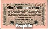 Deutsches Reich Rosenbg: 104b, Privatfirmendruck rotes Firmenzeichen 1923 5 Millionen Mark (Banknoten für Sammler)