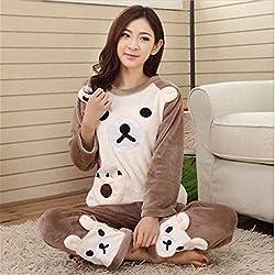 MH-RITA Otoño Invierno 2017 Mujer Pijama Conjunto Chaqueta Pantalón sueño dormir caliente Camisón hembra animal Oso Cartoon Pantalones Ropa de cama color,Imagen,L