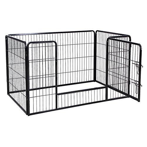 Songmics Welpenauslauf für Hunde Kaninchen kleine Haustiere 122 x 70 x 80 cm schwarz PPK74H - 4