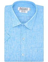 Arihant Men's Half Sleeves Plain Cotton Linen Regular fit Formal Shirt
