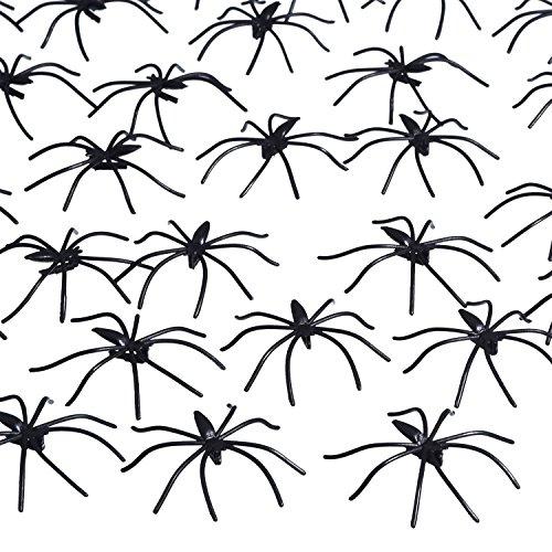 160 Packung Halloween Spinnen Schwarz Plastik Spinnen für Halloween Dekorationen, Halloween Party (Dekoration Spinnen Halloween)