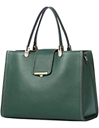 QIWANG Women Leather Handbags Green Soft Top-Handle Bags Shoulder Full Grain Cowhide