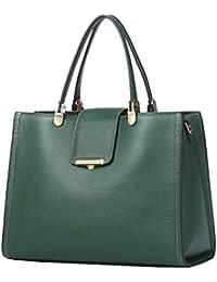 QIWANG Women Leather Handbags Green Soft Top-Handle Bags Shoulder Full  Grain Cowhide 946301fa60