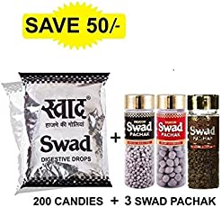 Swad Maha Saver Pack Candy Pouch, 370g with Swad Pachak Bottles, 110g (Pack of 3, Anardana, Jeera and Khatta Meetha)