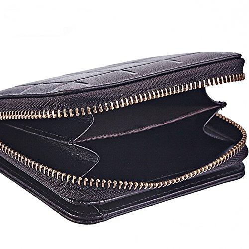 Artmi da donna All-in-One scheda Compact in vera pelle Custodia a portafoglio e portamonete e borse portafoglio con cerniera e Hasp beige Beige Compact Black