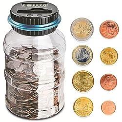 Frontoppy Contador Digital Hucha per EUR, Automático Moneda Contando Caja de Dinero para Niños y Adultos, Banco de Dinero Seguro Moneda de Ahorro de Contenedores de Pantalla LCD y Gran Capacid