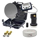 PremiumX HD Camping Sat Koffer Schüssel inkl. Digital Single LNB mit Wetterschutz + 10m Koaxial-TV-Kabel mit 2X F-Stecker inkl. LCD SatFinder