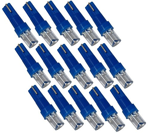 AERZETIX: Lot d'ampoules pour éclairage instruments de tableau de bord. T5 12V 1 LED. Couleurs variées (Bleu, 15 pièces)