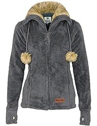 Sublevel Damen Teddy Fleecejacke mit Fell Kragen und Bommeln | Warme Flauschjacke mit weitem Kragen
