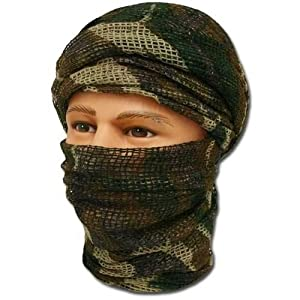 PURECITY® Shemagh keffieh cheche US - Maille filet woodland camouflage - 190cm x 90cm - Airsoft - Paintball - Outdoor
