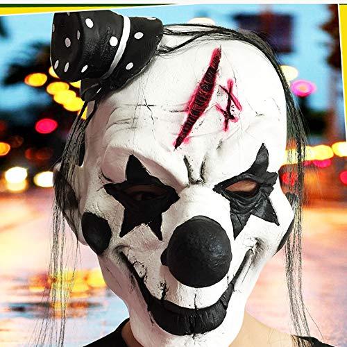 Edelehu Schwarz-Weiß-Parodie Halloween-Maske Scary Gruselige Horror Cosplay Kostüm Bandana Latex Scary Kopf Zombie-Maske (Maske Weißen Gruseligen)