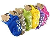 Lian estilo Unisex niños 6pares pack antideslizante calcetines de algodón puro múltiples Color