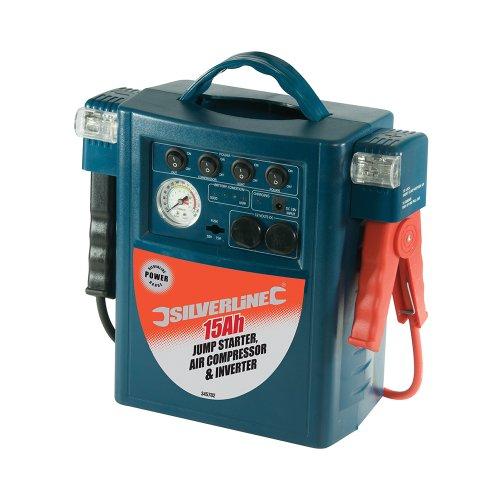 Silverline 345782 Char geur-démarreur Compresseur d'air et Onduleur 15 Ah