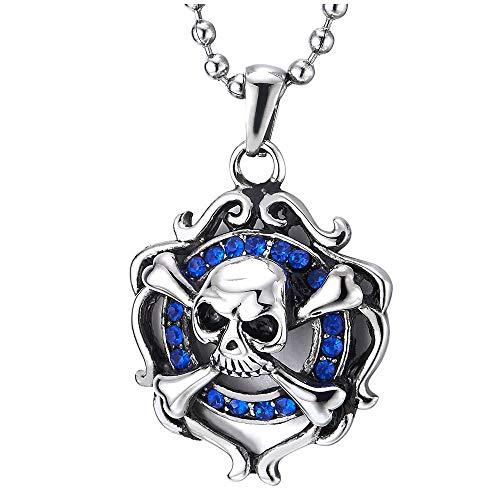 iMECTALII Damen Herren Knochen Piraten Schädel Anhänger, Edelstahl Halskette mit Blauen Zirkonia, 60cm Stahl Kugelkette, Gothic