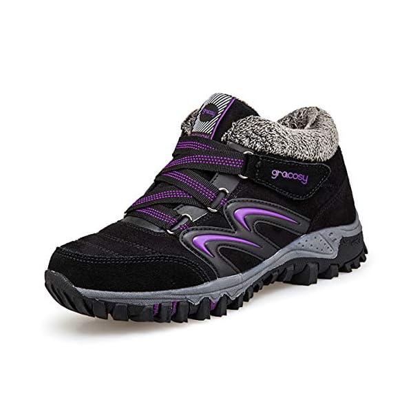 gracosy Women Flat Walking Hiking Ankle Boots, Winter Low Rise Slip On Trekking Footwear Anti-Slip Shoes with Fur Lined… 1