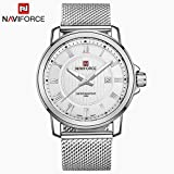 Casual Business Steel Mesh Strap Wrist Watch (Silver White)