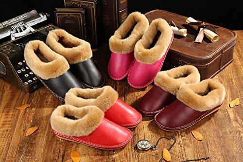 TELLW Pantoufles de Coton Hommes et Femmes Épaisses en Bas Hiver Coréen Version Mignonne Couples Intérieur Chaussures Antidérapant Hiver Chaud Vin rouge