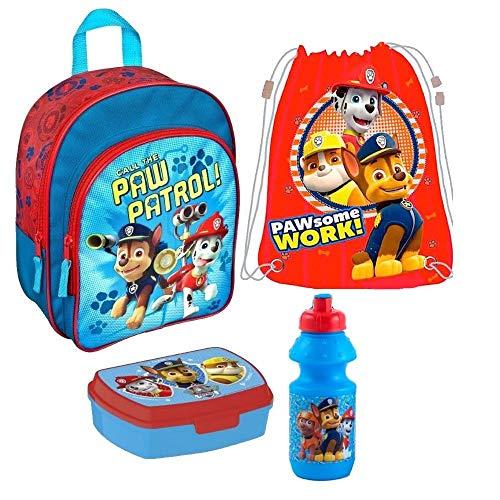 Paw Patrol 4 Teile Set Rucksack Kindergarten Tasche Hund Turnbeutel Brotdose mit Sticker von Kids4shop Federtasche