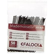 Efalock Mademoiselle - Horquillas para moños (65 mm, 50 unidades), color negro