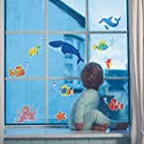 KinderDekoration Elektrostatische Aufkleber Fische für Glasscheiben, Fliesen, Badezimmer - 2 Blatt 23,5 cm x 16 cm