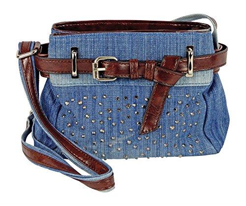 Cool Jeans Umhängetasche mit Gürtel und kleinen Steinchen/Nieten - Glitzereffekt - Maße ohne Henkel 22x17x6 cm - Damen Mädchen Teenager Tasche - Used Look Style (blau/JG)