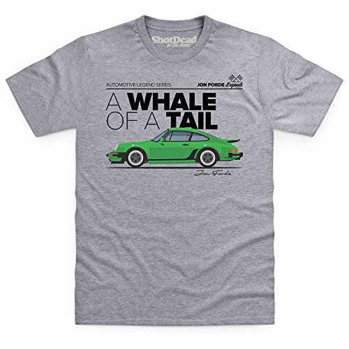 Shotdeadinthehead Jon Forde Whale of A Tail T-Shirt, Herren, Grau Meliert, - Design Zeigt Porsche