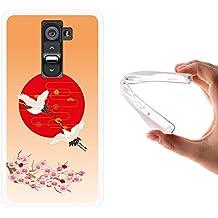 Funda LG G2, WoowCase [ LG G2 ] Funda Silicona Gel Flexible Arte Japonés Pájaro, Carcasa Case TPU Silicona - Transparente