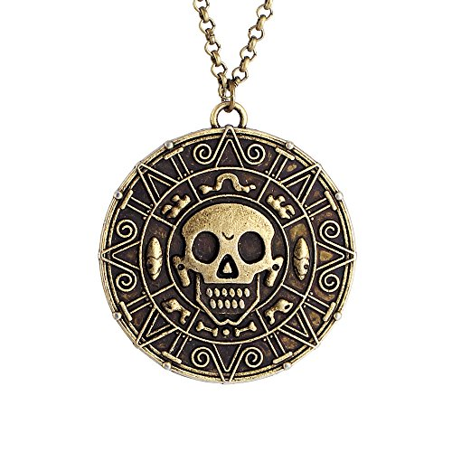 lureme® Inspired By Pirates of the Caribbean Movies Cursed Aztec Coin Medallion Halskette Schädel Halskette-Anqitue Brass - Movie Full 1 Halloween