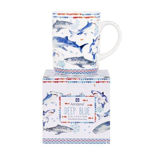 Ashdene Blue sea - sharks - Fine Bone China Cup Mug Porzellantasse Tasse Becher tazza taza 10,5cm 370ml, by Longina Phillips, Gift box, best quality, ASHDENE, Australia Blue Fine Bone China