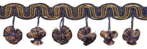 NAVY blau taupe 5,1cm Barock Zwiebel Quaste Fransen, Stil # tfb2Farbe: navy taupe-5817, verkauft von der Yard -